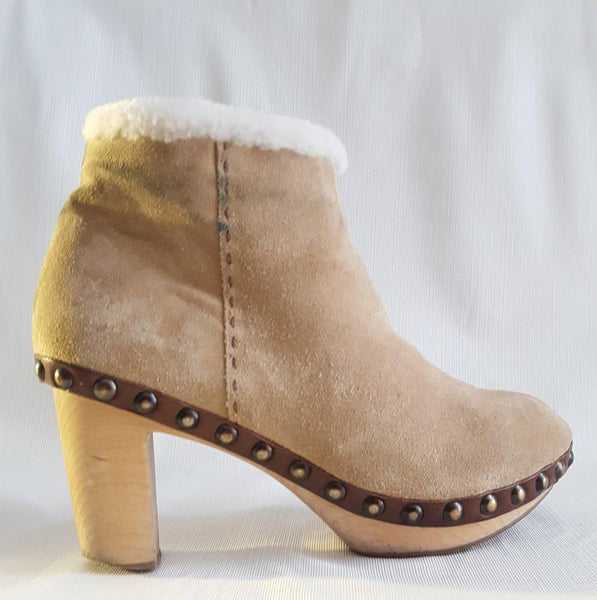 Henry Cuir Barneys New York Shearling Clog Boot size 38.5