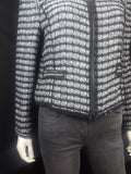 Milly Striped Boucle Double Zip Blazer Size M