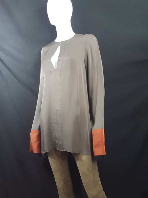 Theory Silk Frayed Hem Tunic sz. S