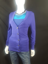"Tory Burch ""Simone"" V Neck Merino Wool Cardigan Size S - Wells Resale and Company"