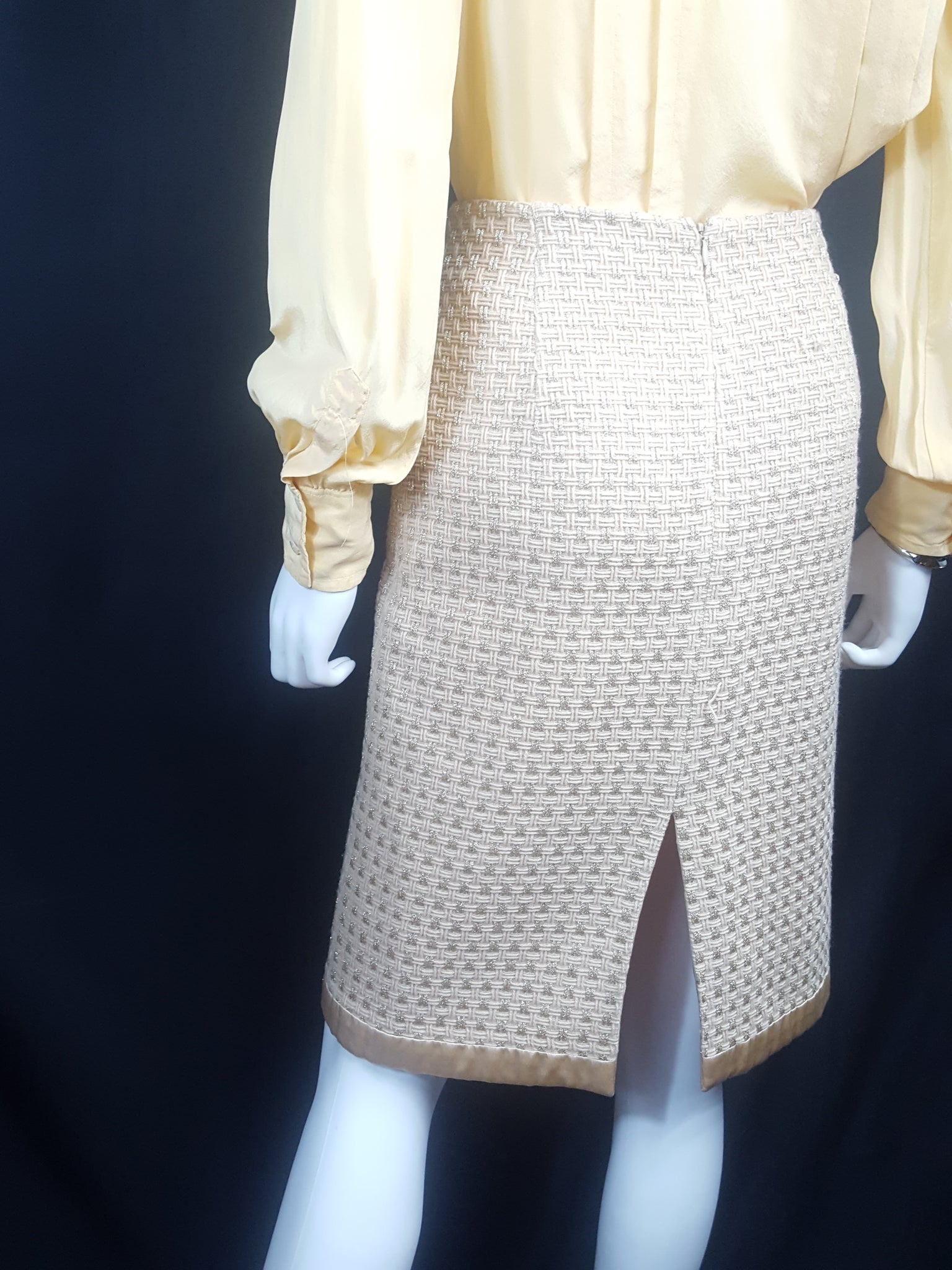 Milly Bergdorf Goodman Gold Metallic Tweed Skirt size 6