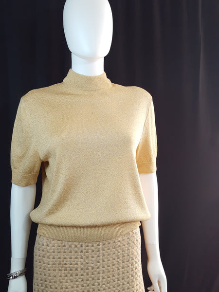 Gold Metallic Thread Sweater size L