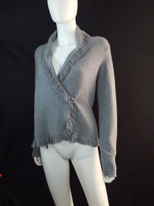 Magaschoni Cashmere Fringe Wrap Sweater Size XS - Wells Resale and Company