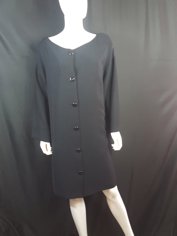 Linda Allard Ellen Tracy Circa 90s Black Back Button Dress sz.14