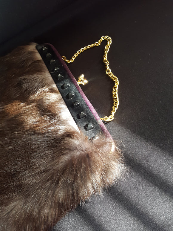 Womens Vintage Recycled Fur Wristlet Handbags Purses Fur