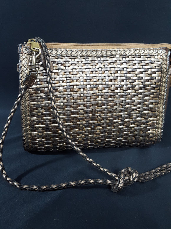 Nine West Metallic Bronze Woven Leather Clutch, Vintage