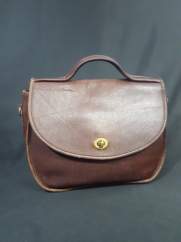 Vintage Brown Leather Saddle Bag