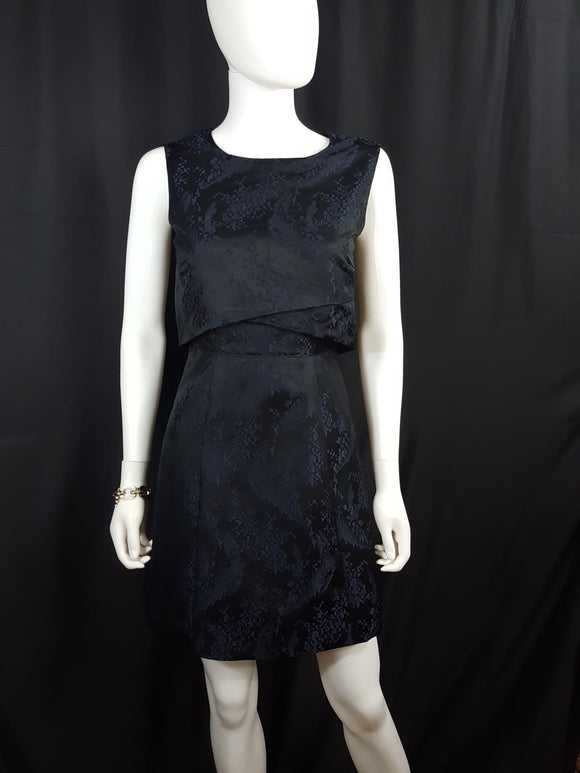 Sportmax Navy Jacquard Layered Top Cocktail Dress sz. S