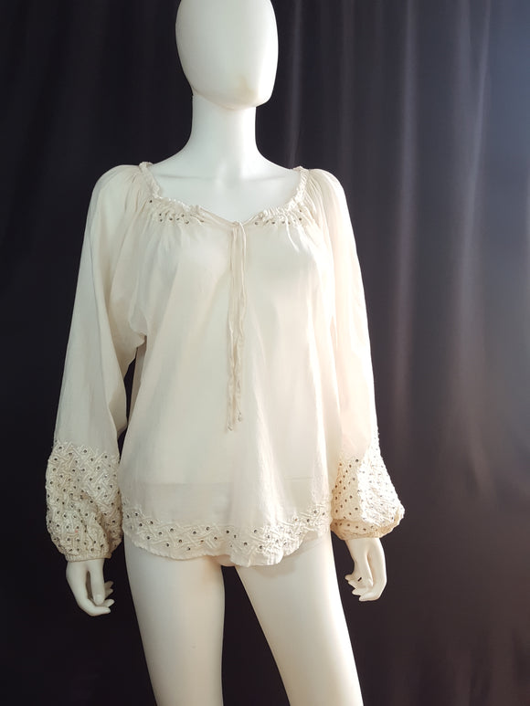 Parker Cotton Embroidered Peasant Blouse sz. S