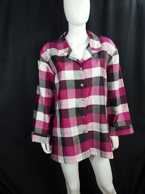 Notations Woman Silk Check Blouse size 3X