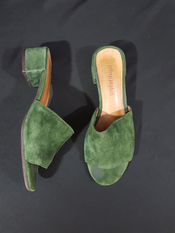 Jeffrey Campbell Beaton Mule Green Suede Size 6.5