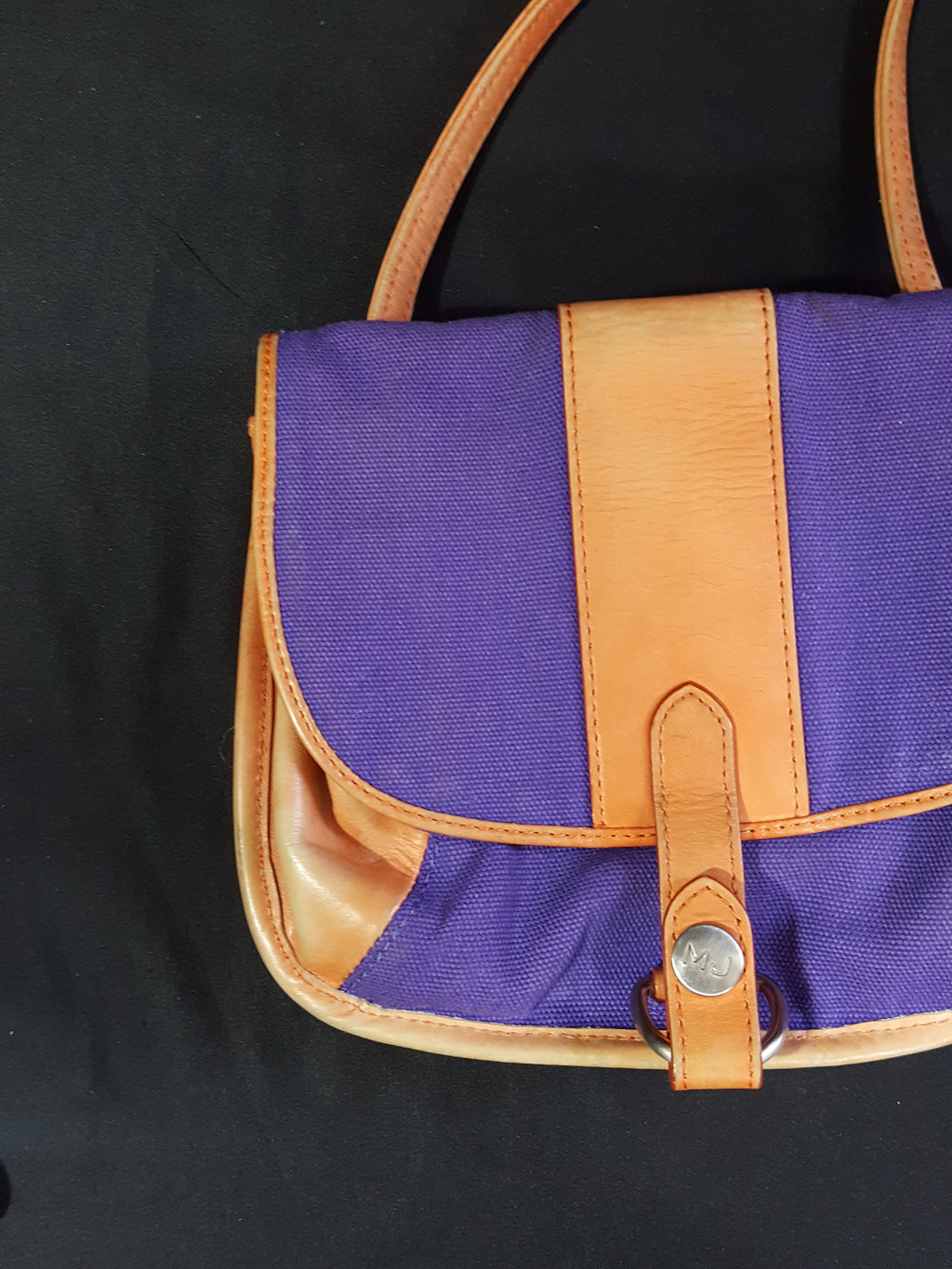 Marc Jacobs Purple Canvas Leather Crossbody Saddle Bag