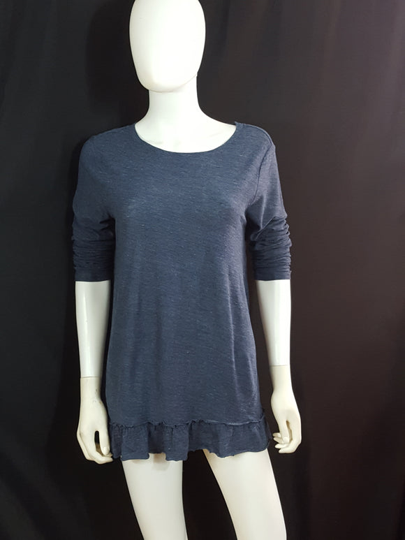 Vince Camuto Long Sleeve Cotton Ruffle Hem T Shirt size M