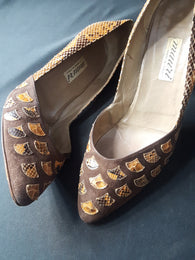 Mauri Suede and Lizard Pumps size 40
