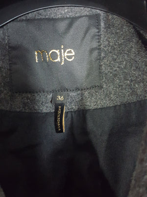 Maje Wool Double Breasted Pea Coat Size 36/S