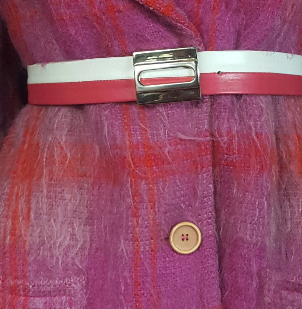 Two Toned Stripe Leather Belt Size S