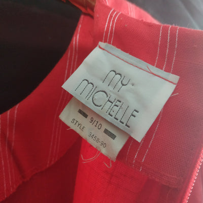 My Michelle Red Pinstripe Wiggle Dress Size 10