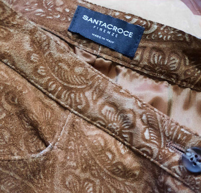 Santacroce Firenze  Printed Suede Leather Trousers Size 42