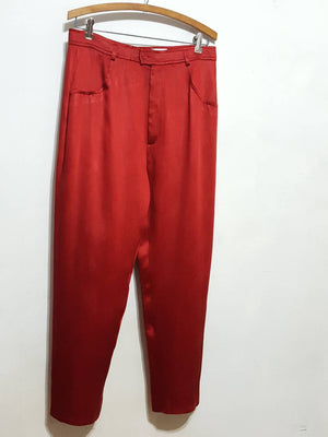 Yves Saint Laurent Encore Red Silk Snake Jacquard Highwaist Pants size 6