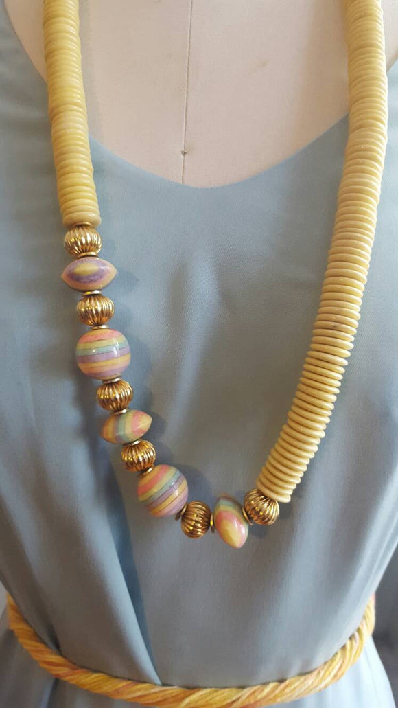 Vintage Beaded Necklace, Sandra David, Jewelery, Beads, Womens, Gifts, Sherbert, Pastel, T shirts, Tops, flat beads, printed beads, beach,