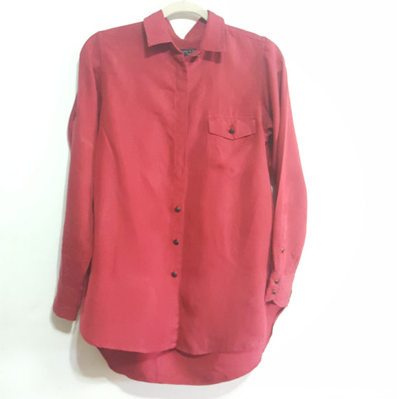 Rag & Bone Shirred Silk Boyfriend Shirt Size 2