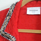 STIZZOLI Knit Pique Blazer Twin Set with Gold Chain Boucle Trimming Size