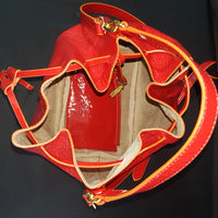 Frances Valentine Medium Red Patent Leather Ann Drawstring Bucket Bag
