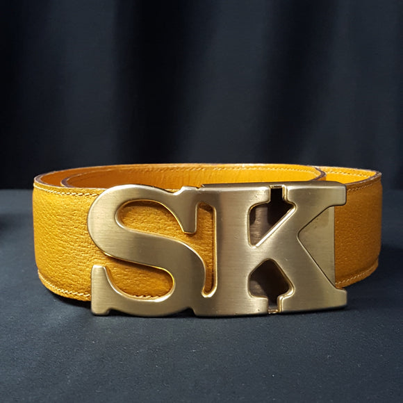 Stephane Kelian Initial Buckle Leather Belt Size S