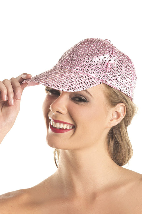 Sequin Baseball Hat Candy Pink