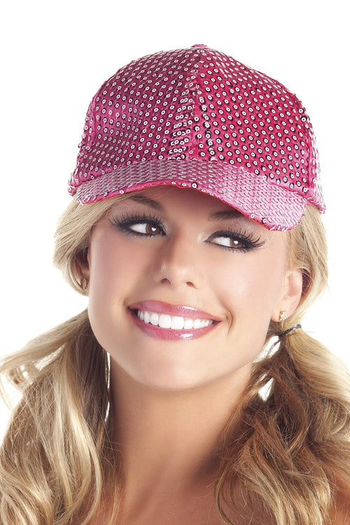 Sequin Baseball Hat Hot Pink