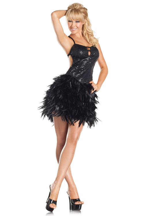 Exotic Feathers Dress Black