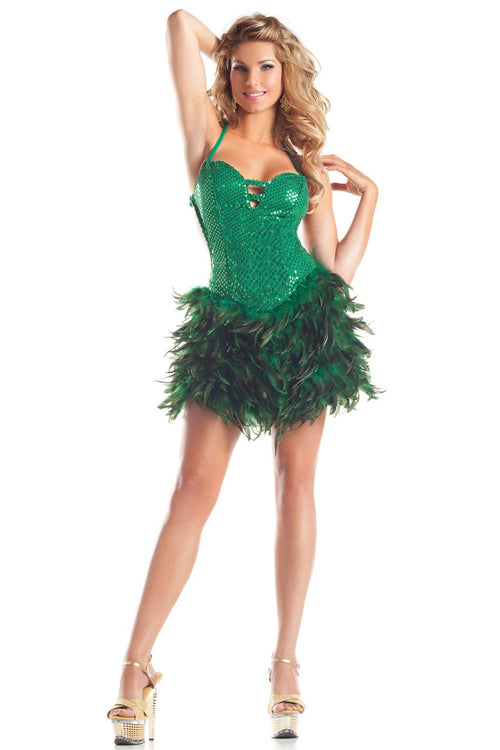Exotic Feathers Dress Green