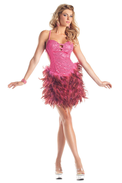 Exotic Feathers Dress Hot Pink