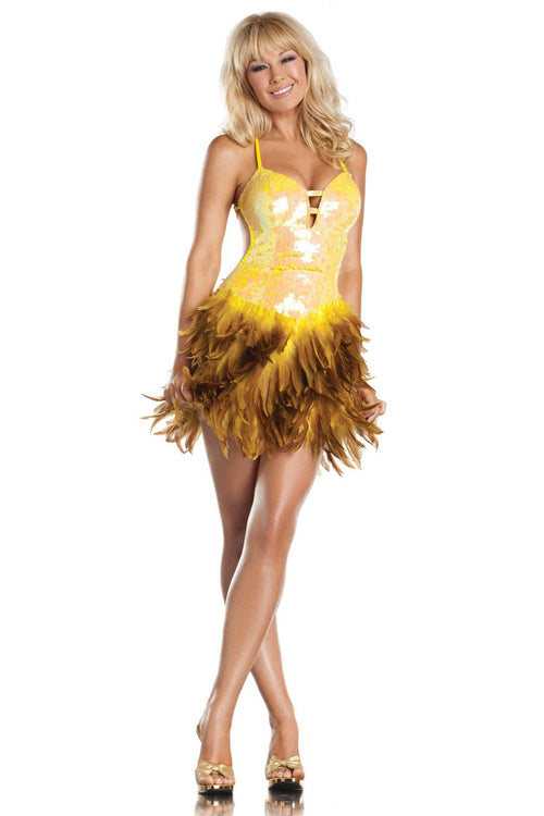 Exotic Feathers Dress Yellow