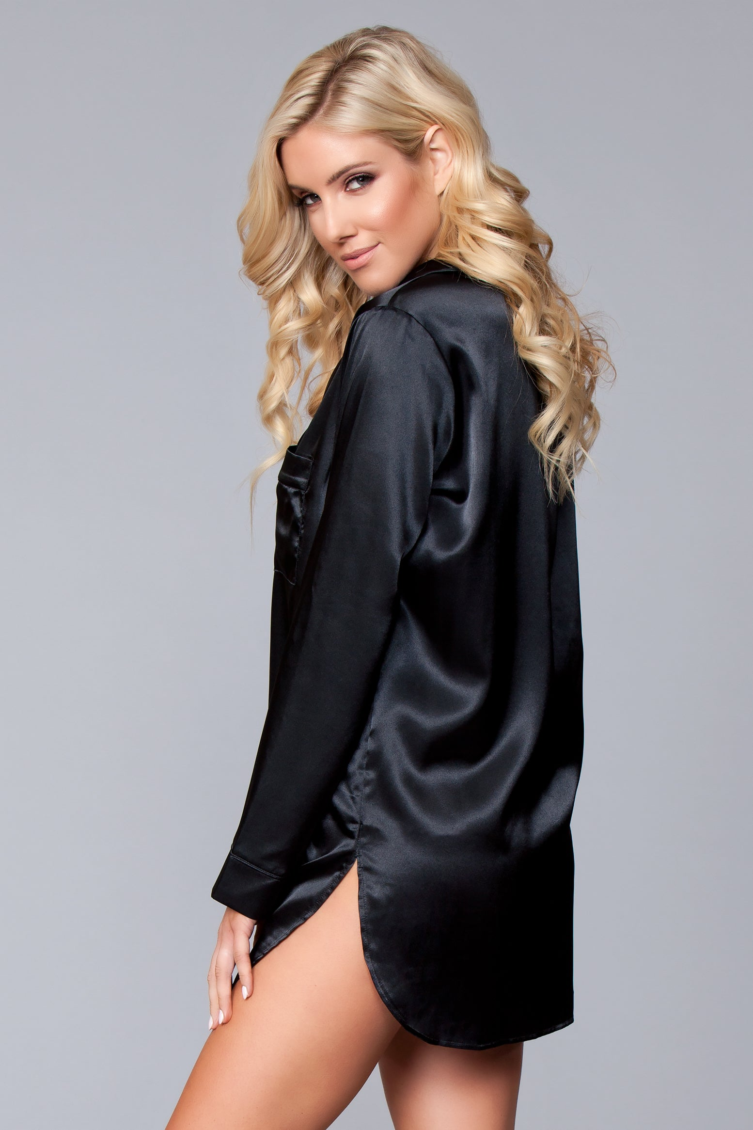 LALA TRENDS Be Wicked Kimberly Satin Sleepshirt Black Sleepwear $39.95
