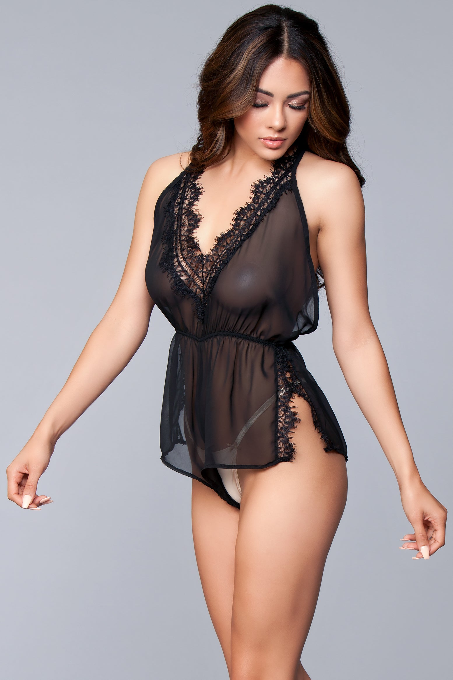 Faith Romper Black Lingerie,- La La Trends