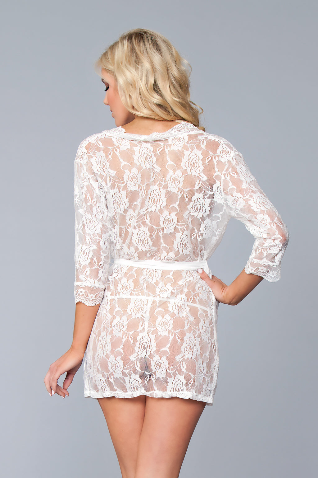 LALA TRENDS Be Wicked Lola Over Lace Robe White Lingerie $28.95