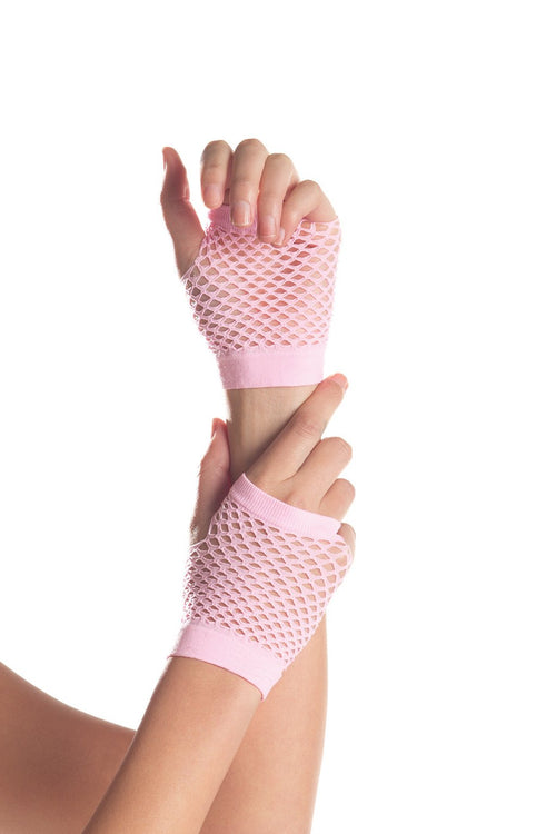 Candy Pink Wrist-length Fishnet Gloves