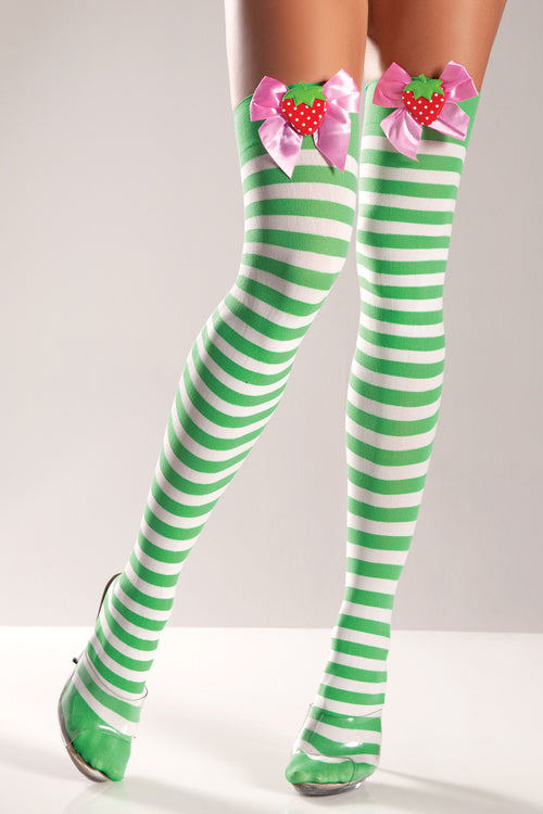 Green and White Striped Thigh Highs with Strawberries and Bows Hosiery- La La Trends
