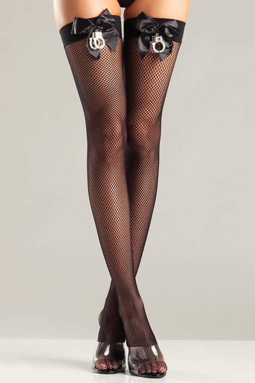 Black Fishnet Thigh Highs with Satin Bows & Handcuffs Hosiery- La La Trends