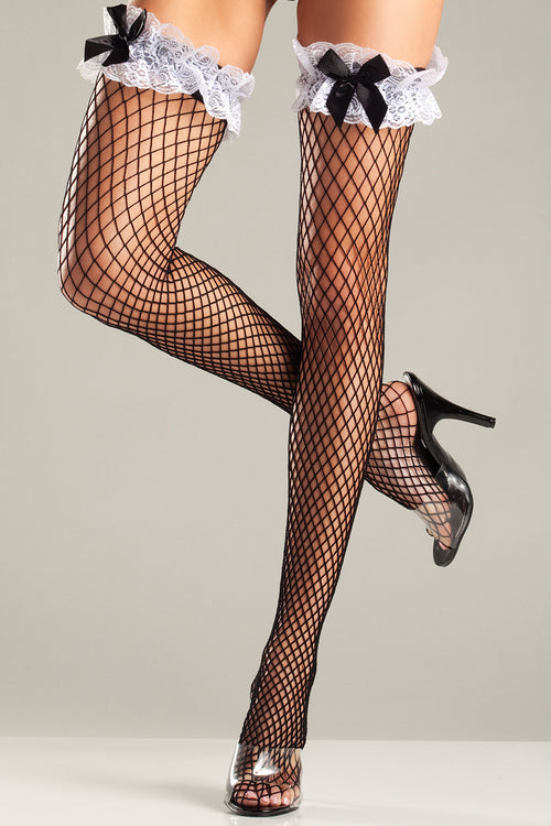 Diamond Net Thigh Highs with Ruffled Lace Top and Bows Hosiery- La La Trends