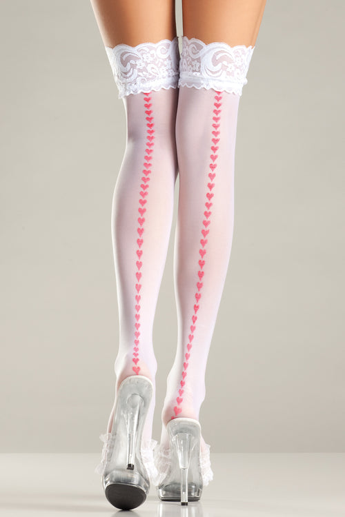 DELICATE HEARTS Thigh High Stockings Hosiery- La La Trends
