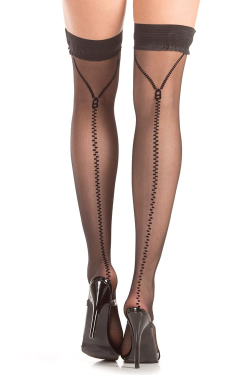 Zippered Backseam Stay Up Thigh Highs