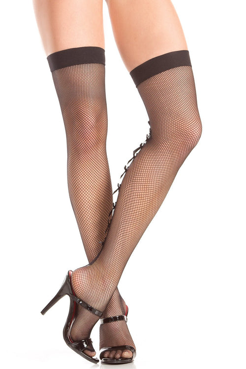 Multi-Bow Backseam Fishnet Thigh Highs