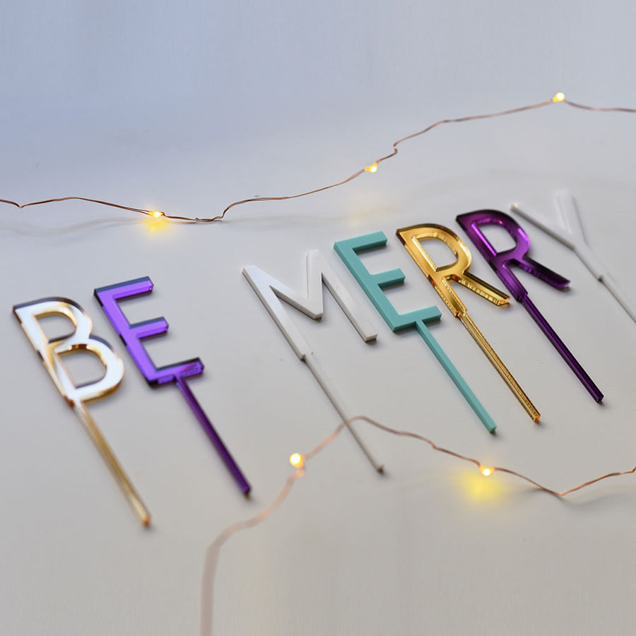 Be Merry Christmas Cake Topper