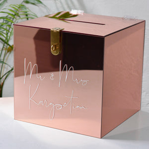 Hire - Personalised Wishing Well Card Box | Rose Gold Mirrored Acrylic