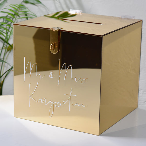 Hire - Personalised Wishing Well Card Box | Gold Mirrored Acrylic