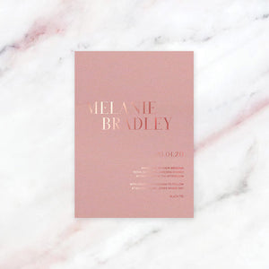 Foil Wedding Invitation Design + Printing Pink Card | Style 01