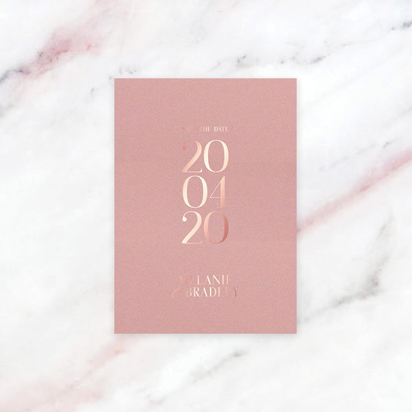 Foil Save The Date Design + Printing Pink Card | Style 01