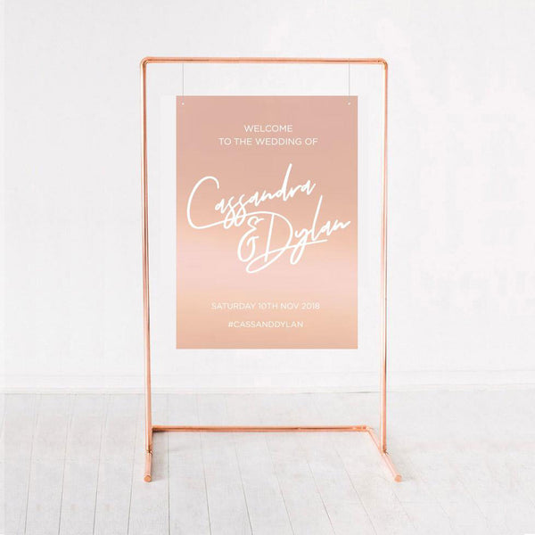 rose gold wedding sign